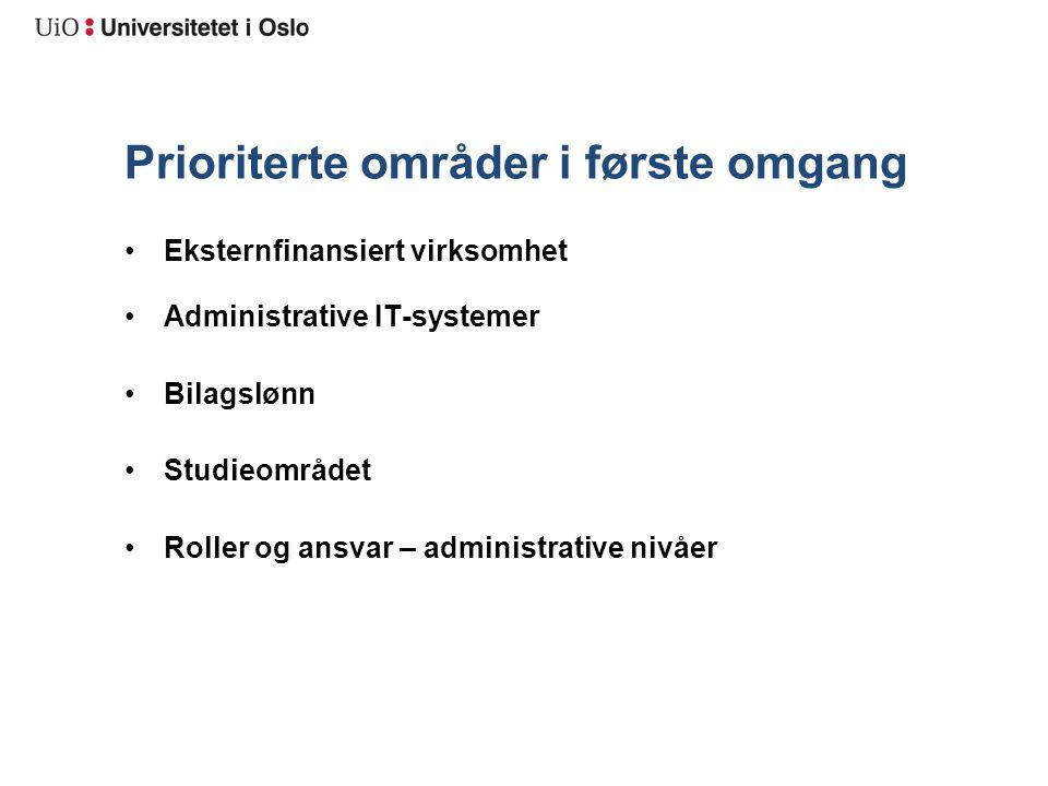 Prosjektorganisering Den overordnede styringsstrukturen er universitetets ordinære linjestruktur.
