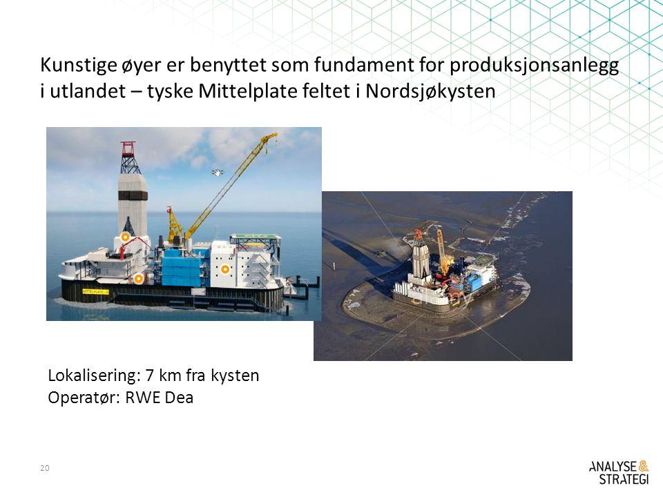 Kunstige øyer er benyttet som fundament for produksjonsanlegg i utlandet – tyske Mittelplate feltet i Nordsjøkysten 20 Lokalisering: 7 km fra kysten Operatør: RWE Dea