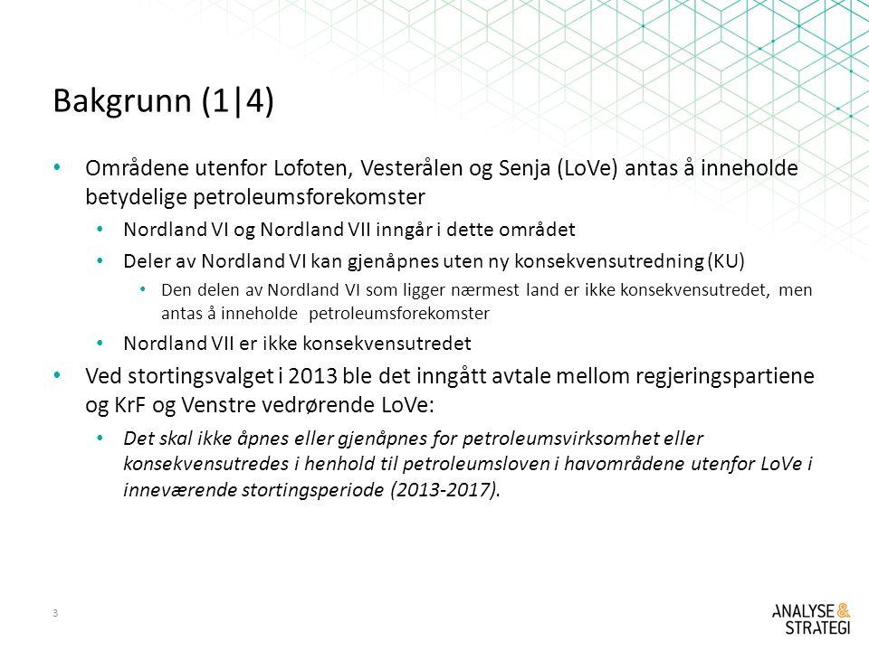 Bakgrunn (1|4) Områdene utenfor Lofoten, Vesterålen og Senja (LoVe) antas å inneholde betydelige petroleumsforekomster Nordland VI og Nordland VII inngår i dette området Deler av Nordland VI kan gjenåpnes uten ny konsekvensutredning (KU) Den delen av Nordland VI som ligger nærmest land er ikke konsekvensutredet, men antas å inneholde petroleumsforekomster Nordland VII er ikke konsekvensutredet Ved stortingsvalget i 2013 ble det inngått avtale mellom regjeringspartiene og KrF og Venstre vedrørende LoVe: Det skal ikke åpnes eller gjenåpnes for petroleumsvirksomhet eller konsekvensutredes i henhold til petroleumsloven i havområdene utenfor LoVe i inneværende stortingsperiode (2013-2017).