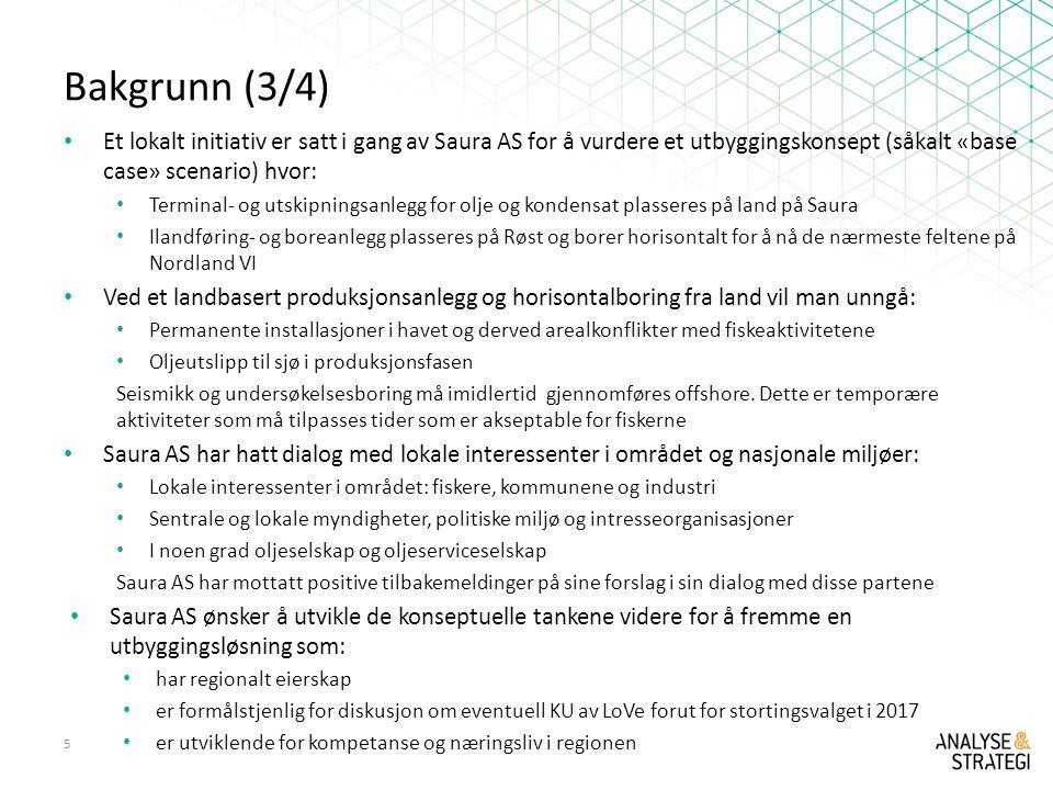 Bakgrunn (3/4) Et lokalt initiativ er satt i gang av Saura AS for å vurdere et utbyggingskonsept (såkalt «base case» scenario) hvor: Terminal- og utskipningsanlegg for olje og kondensat plasseres på land på Saura Ilandføring- og boreanlegg plasseres på Røst og borer horisontalt for å nå de nærmeste feltene på Nordland VI Ved et landbasert produksjonsanlegg og horisontalboring fra land vil man unngå: Permanente installasjoner i havet og derved arealkonflikter med fiskeaktivitetene Oljeutslipp til sjø i produksjonsfasen Seismikk og undersøkelsesboring må imidlertid gjennomføres offshore.