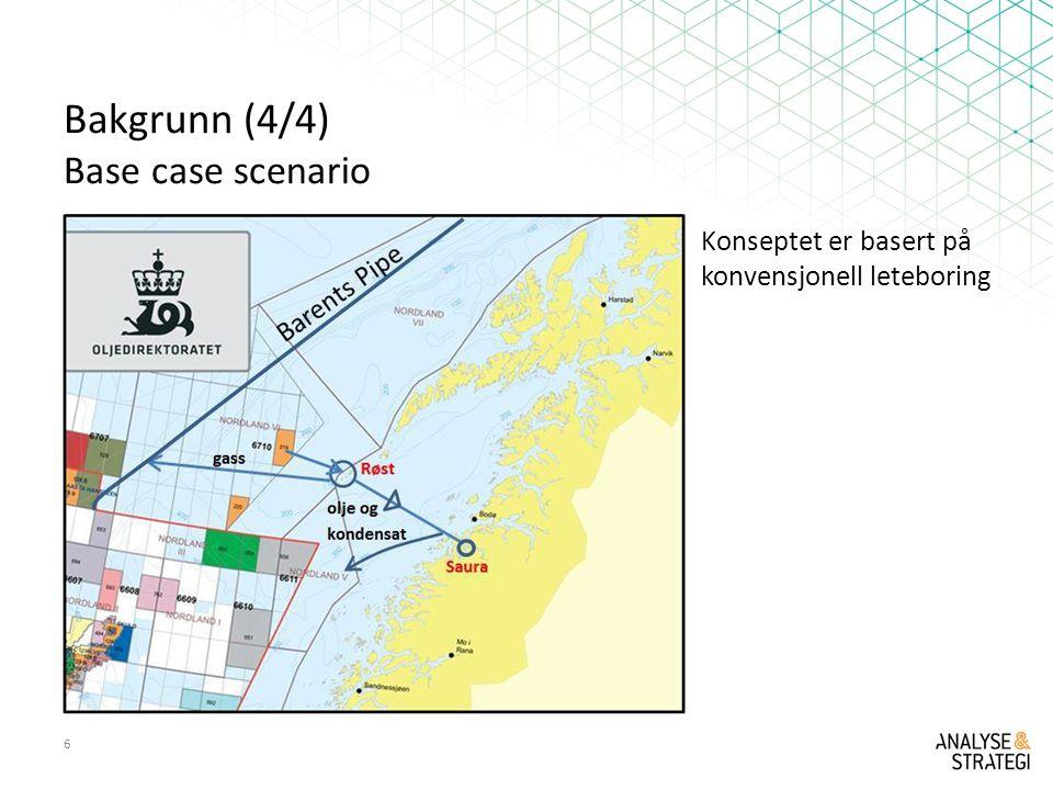 Bakgrunn (4/4) Base case scenario 6 Konseptet er basert på konvensjonell leteboring