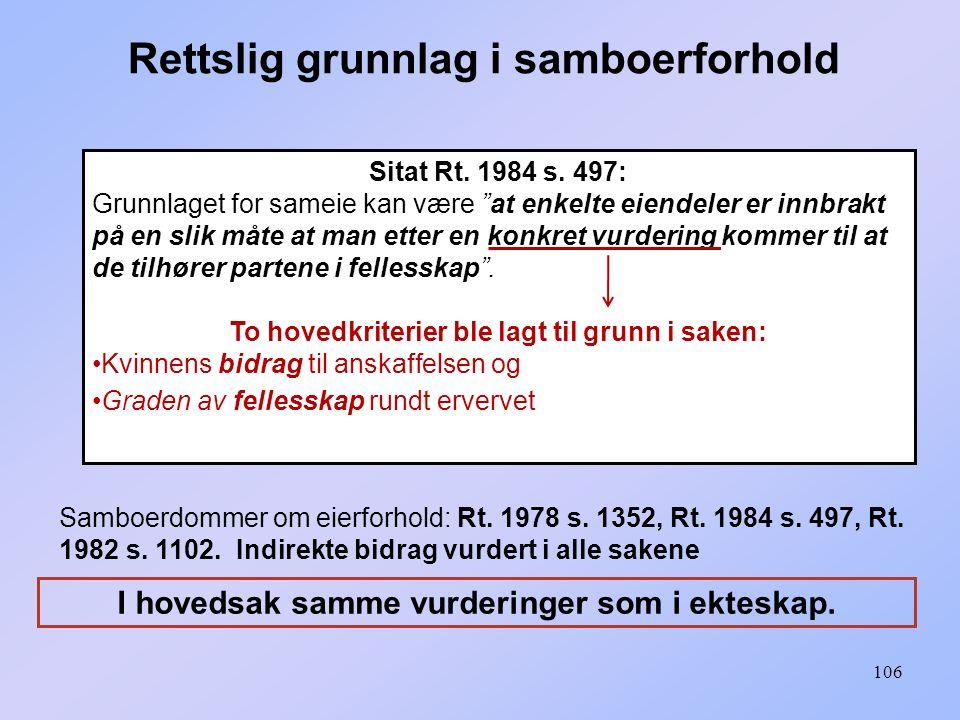 """106 Sitat Rt. 1984 s. 497: Grunnlaget for sameie kan være """"at enkelte eiendeler er innbrakt på en slik måte at man etter en konkret vurdering kommer t"""