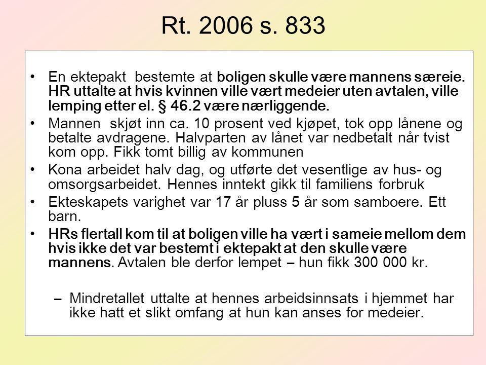 Rt. 2006 s. 833 En ektepakt bestemte at boligen skulle være mannens særeie. HR uttalte at hvis kvinnen ville vært medeier uten avtalen, ville lemping
