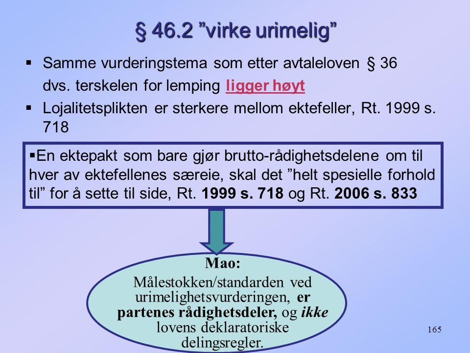 """165 § 46.2 """"virke urimelig""""  Samme vurderingstema som etter avtaleloven § 36 dvs. terskelen for lemping ligger høyt  Lojalitetsplikten er sterkere m"""