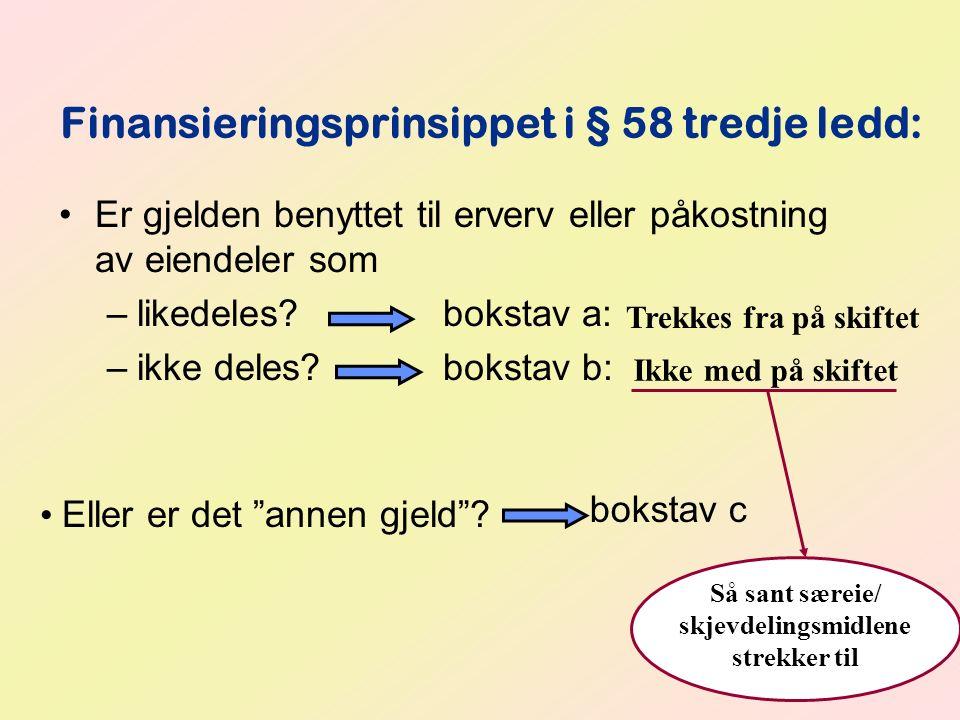 Finansieringsprinsippet i § 58 tredje ledd: Er gjelden benyttet til erverv eller påkostning av eiendeler som –likedeles?bokstav a: –ikke deles? boksta