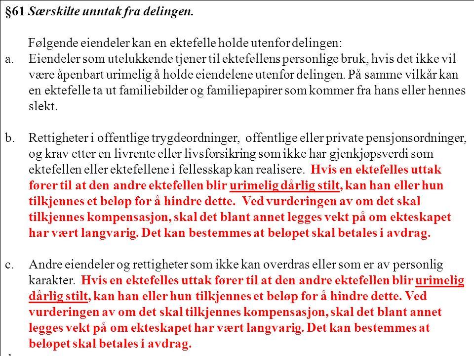285 §61 Særskilte unntak fra delingen. Følgende eiendeler kan en ektefelle holde utenfor delingen: a.Eiendeler som utelukkende tjener til ektefellens