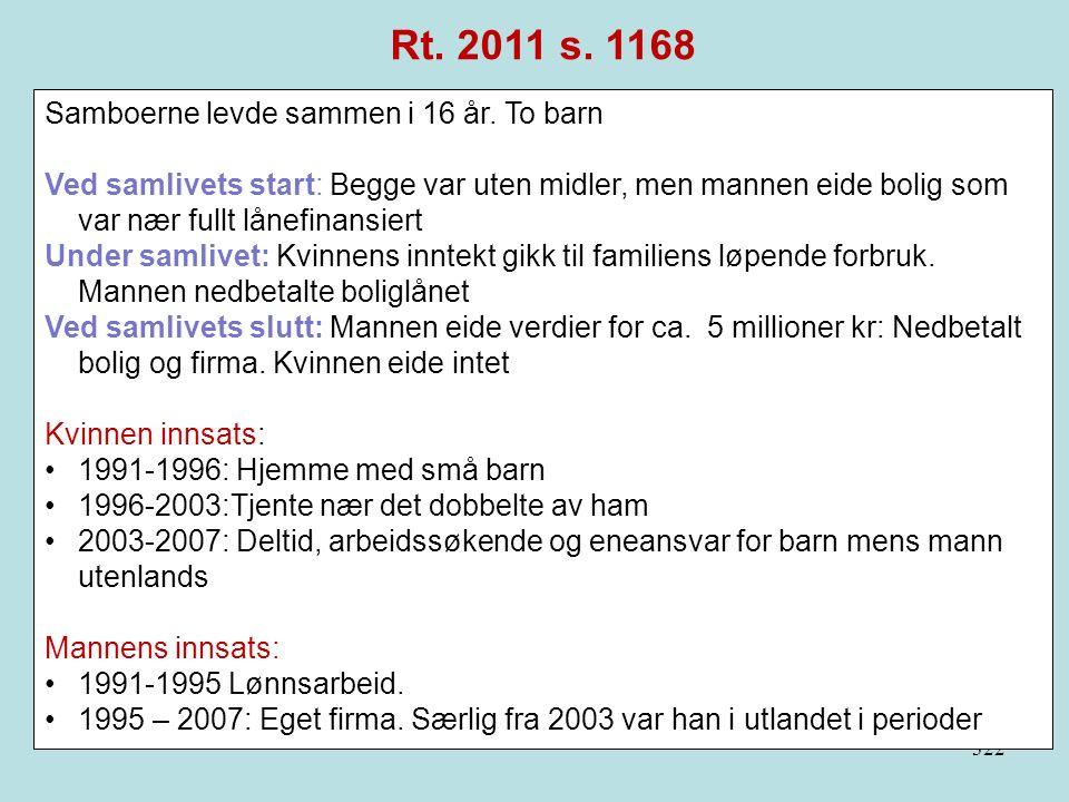 322 Rt. 2011 s. 1168 Samboerne levde sammen i 16 år. To barn Ved samlivets start: Begge var uten midler, men mannen eide bolig som var nær fullt lånef
