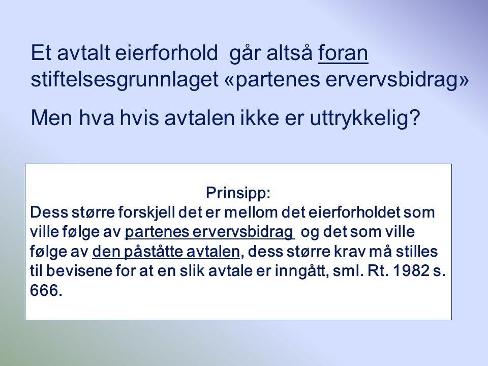 Et avtalt eierforhold går altså foran stiftelsesgrunnlaget «partenes ervervsbidrag» Men hva hvis avtalen ikke er uttrykkelig? Prinsipp: Dess større fo