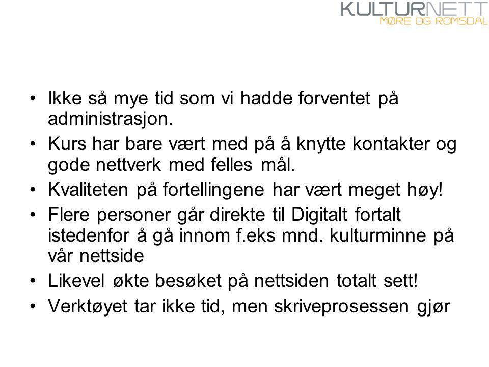 Hvordan har så Kulturnett Møre og Romsdal og IKA Møre og Romsdal benyttet seg av Digitalt fortalt.