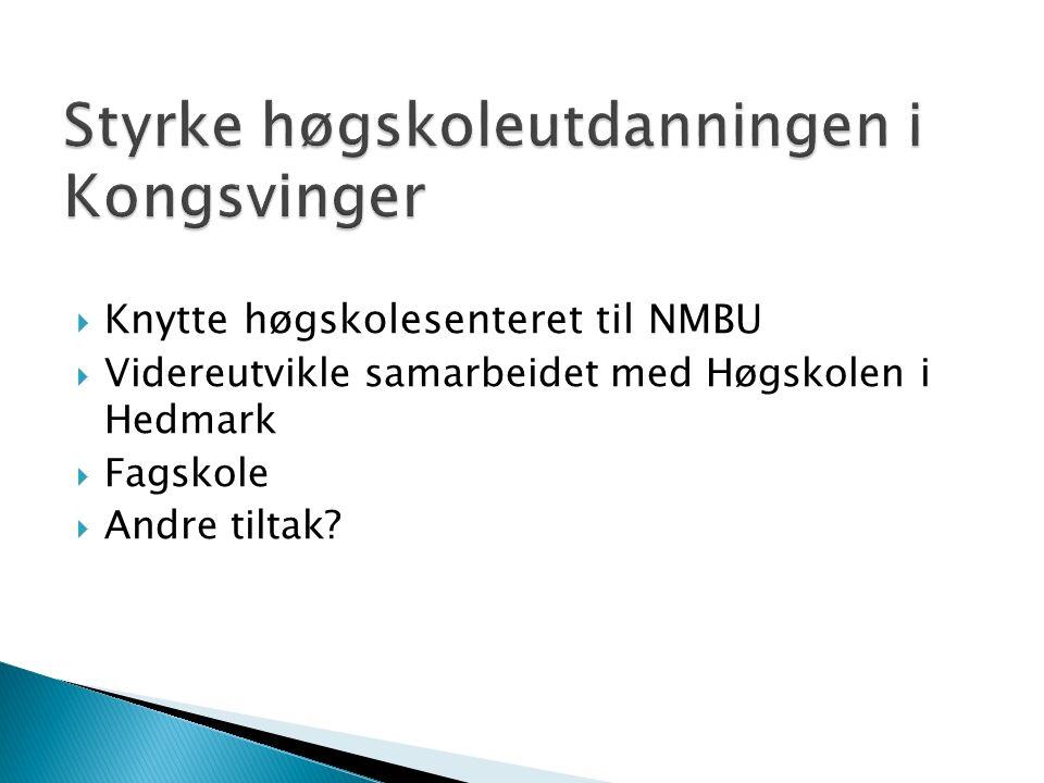  Knytte høgskolesenteret til NMBU  Videreutvikle samarbeidet med Høgskolen i Hedmark  Fagskole  Andre tiltak