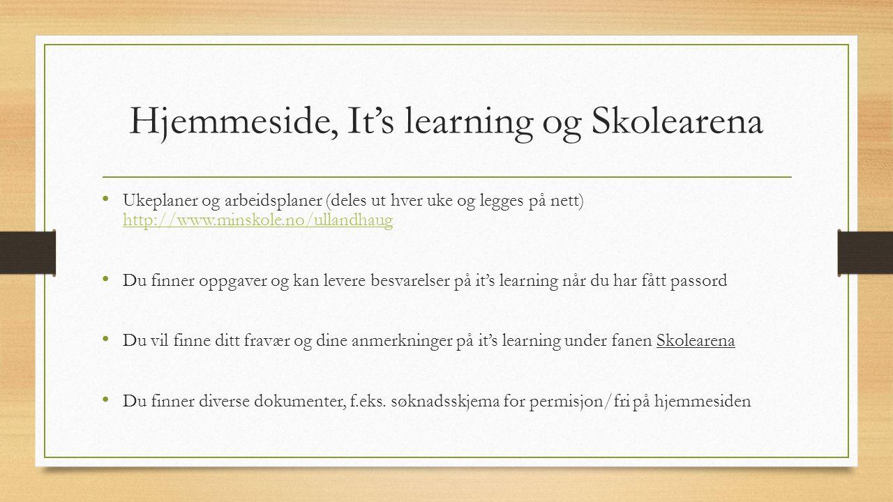 Hjemmeside, It's learning og Skolearena Ukeplaner og arbeidsplaner (deles ut hver uke og legges på nett) http://www.minskole.no/ullandhaug http://www.