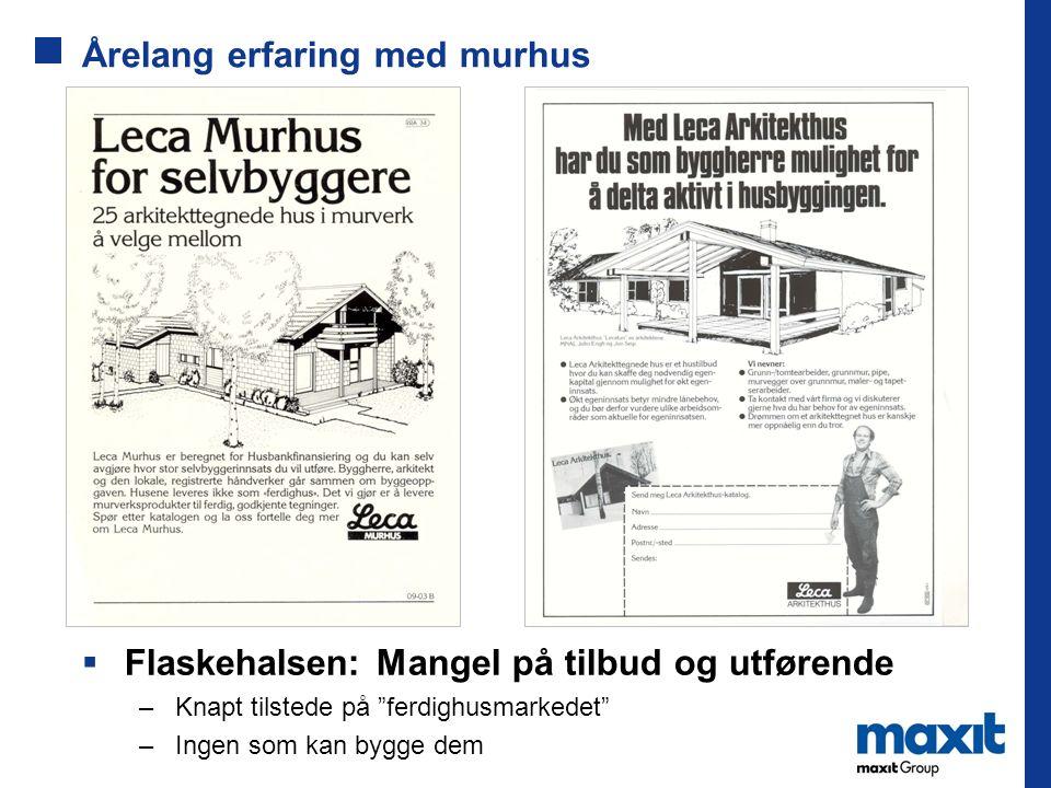 """Årelang erfaring med murhus  Flaskehalsen: Mangel på tilbud og utførende –Knapt tilstede på """"ferdighusmarkedet"""" –Ingen som kan bygge dem"""