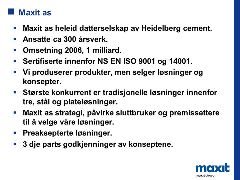 Maxit as  Maxit as heleid datterselskap av Heidelberg cement.  Ansatte ca 300 årsverk.  Omsetning 2006, 1 milliard.  Sertifiserte innenfor NS EN I