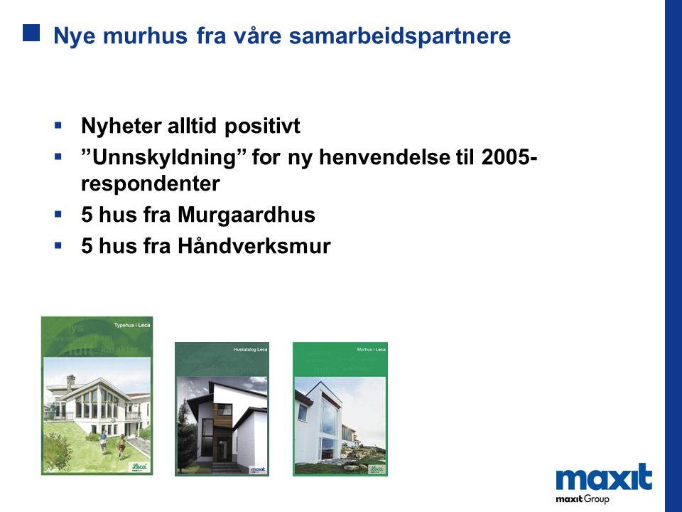 Nye murhus fra våre samarbeidspartnere  Nyheter alltid positivt  Unnskyldning for ny henvendelse til 2005- respondenter  5 hus fra Murgaardhus  5 hus fra Håndverksmur