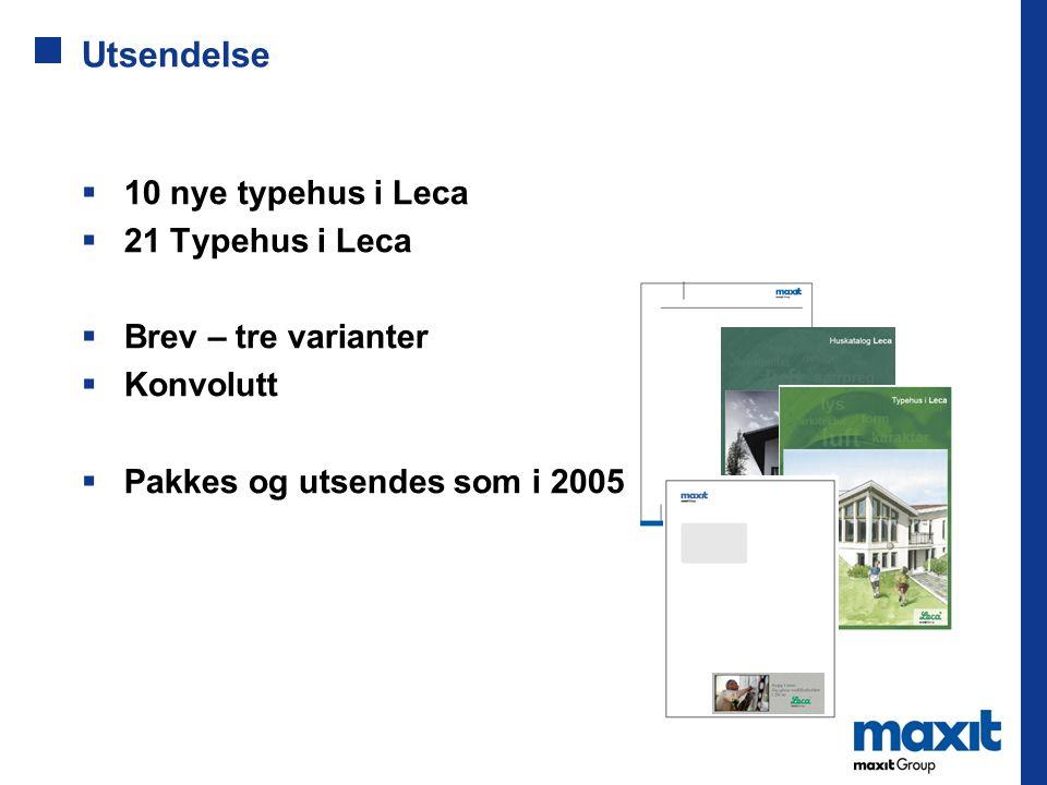 Utsendelse  10 nye typehus i Leca  21 Typehus i Leca  Brev – tre varianter  Konvolutt  Pakkes og utsendes som i 2005