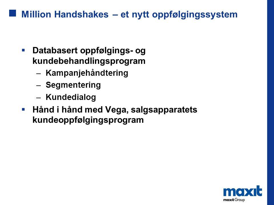 Million Handshakes – et nytt oppfølgingssystem  Databasert oppfølgings- og kundebehandlingsprogram –Kampanjehåndtering –Segmentering –Kundedialog  Hånd i hånd med Vega, salgsapparatets kundeoppfølgingsprogram