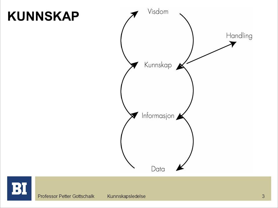 Professor Petter Gottschalk Kunnskapsledelse 3 KUNNSKAP