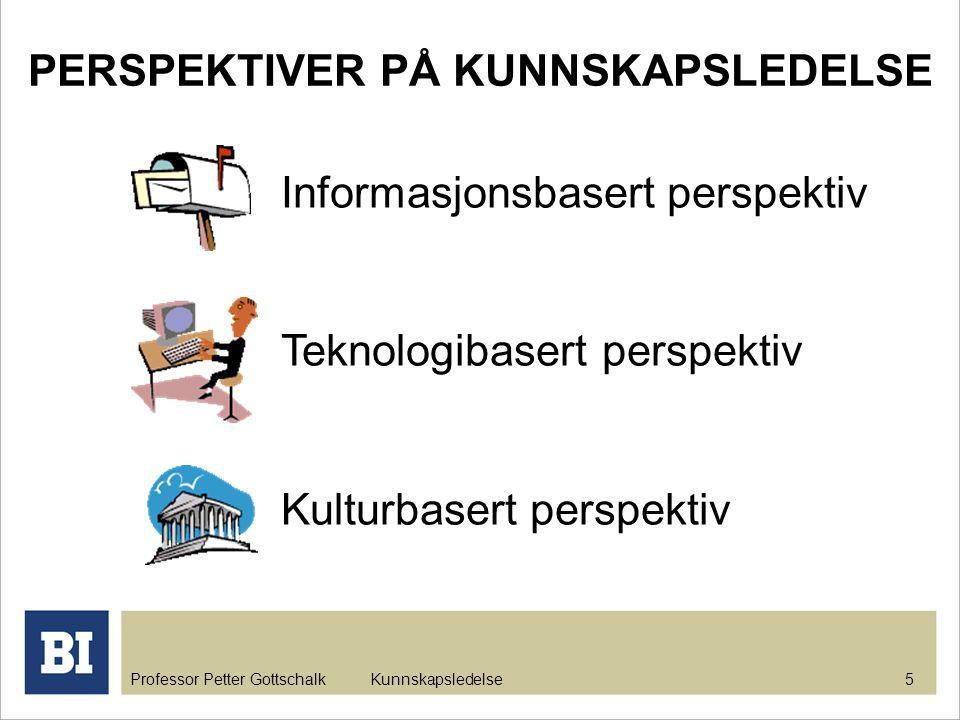 Professor Petter Gottschalk Kunnskapsledelse 5 Informasjonsbasert perspektiv Teknologibasert perspektiv Kulturbasert perspektiv PERSPEKTIVER PÅ KUNNSK