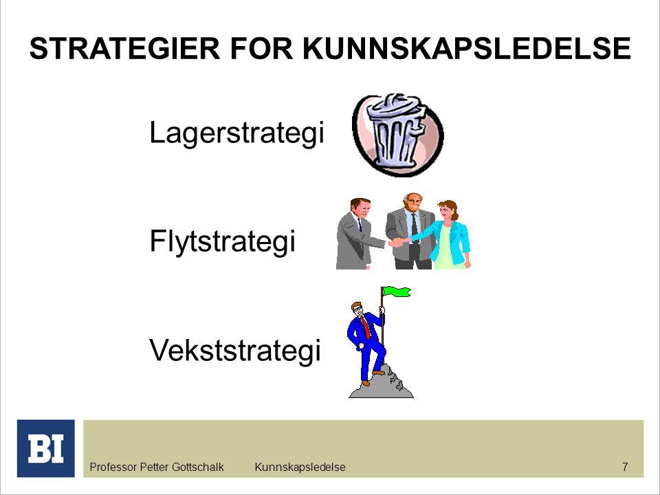 Professor Petter Gottschalk Kunnskapsledelse 7 STRATEGIER FOR KUNNSKAPSLEDELSE Lagerstrategi Flytstrategi Vekststrategi