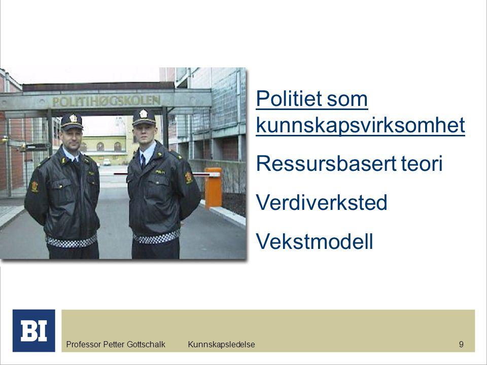 Professor Petter Gottschalk Kunnskapsledelse 9 Politiet som kunnskapsvirksomhet Ressursbasert teori Verdiverksted Vekstmodell