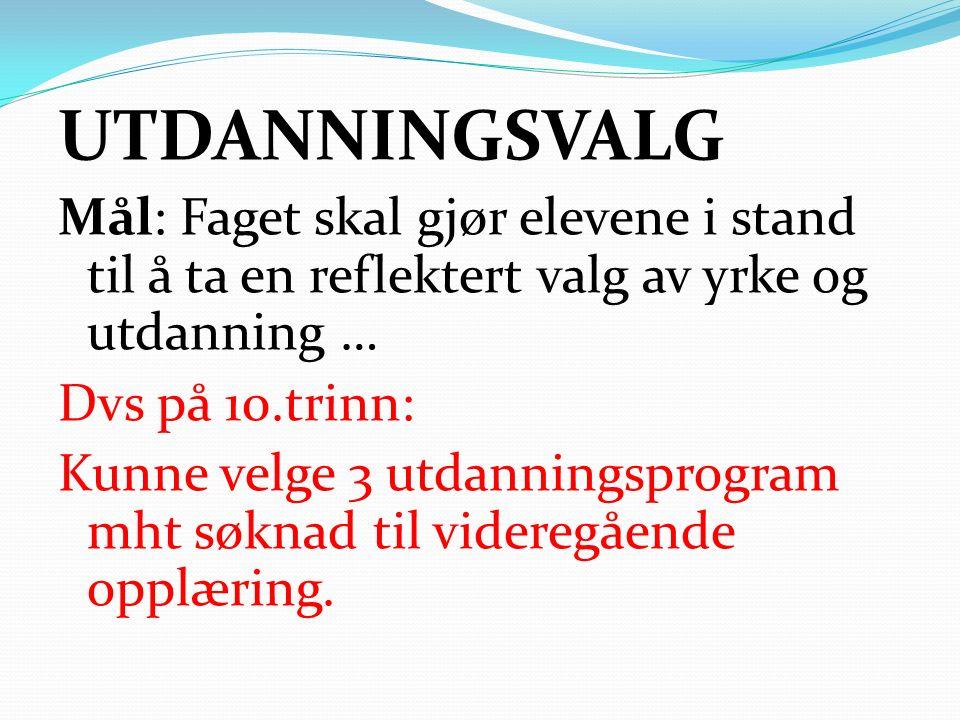 10.trinn: UDV planlaget aktiviteter -Hospitering på vgs (2.