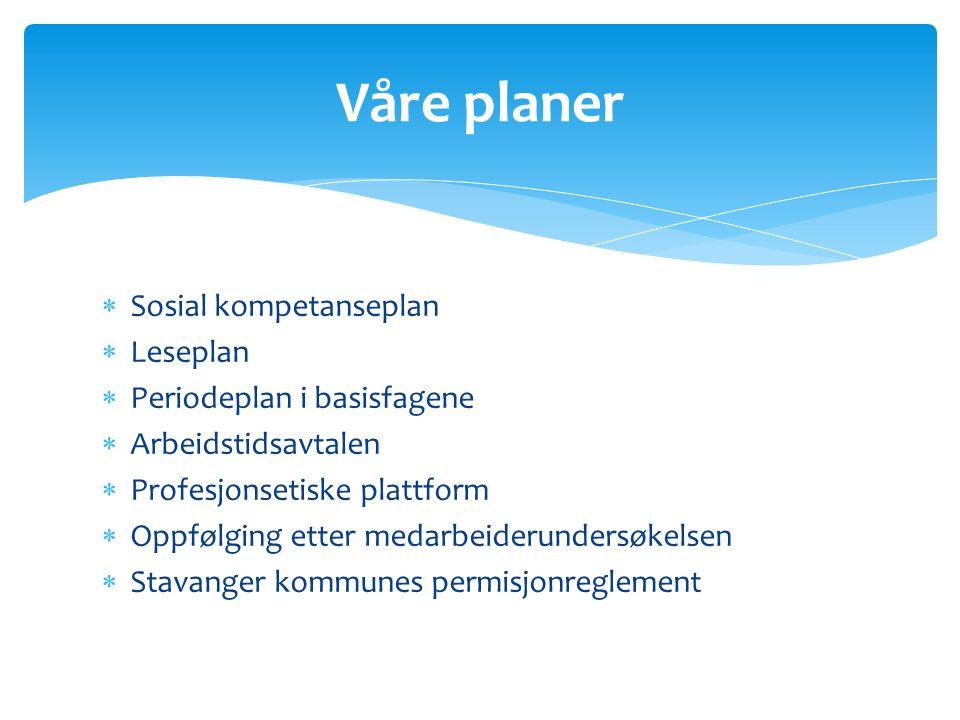  Sosial kompetanseplan  Leseplan  Periodeplan i basisfagene  Arbeidstidsavtalen  Profesjonsetiske plattform  Oppfølging etter medarbeiderundersø