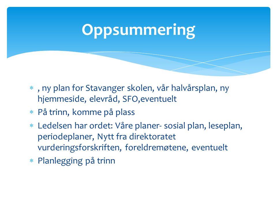 , ny plan for Stavanger skolen, vår halvårsplan, ny hjemmeside, elevråd, SFO,eventuelt  På trinn, komme på plass  Ledelsen har ordet: Våre planer-