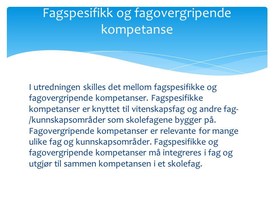 I utredningen skilles det mellom fagspesifikke og fagovergripende kompetanser. Fagspesifikke kompetanser er knyttet til vitenskapsfag og andre fag- /k