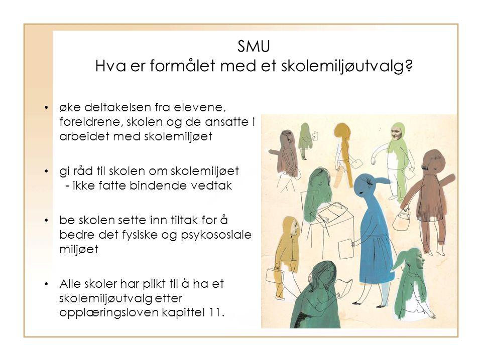 SMU Hva er formålet med et skolemiljøutvalg? øke deltakelsen fra elevene, foreldrene, skolen og de ansatte i arbeidet med skolemiljøet gi råd til skol