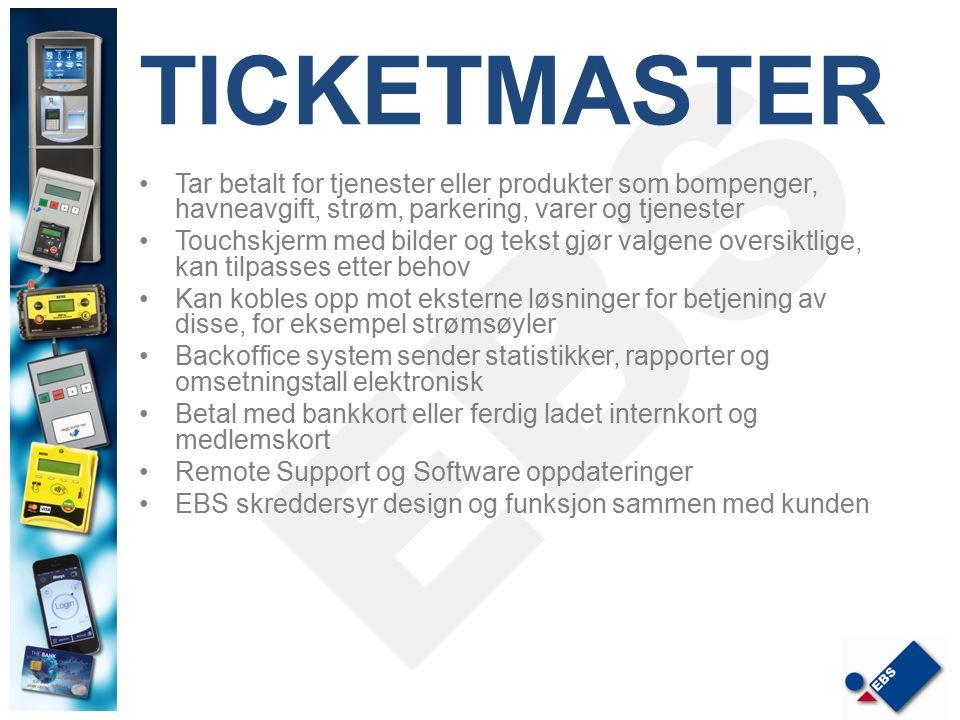TICKETMASTER Tar betalt for tjenester eller produkter som bompenger, havneavgift, strøm, parkering, varer og tjenester Touchskjerm med bilder og tekst
