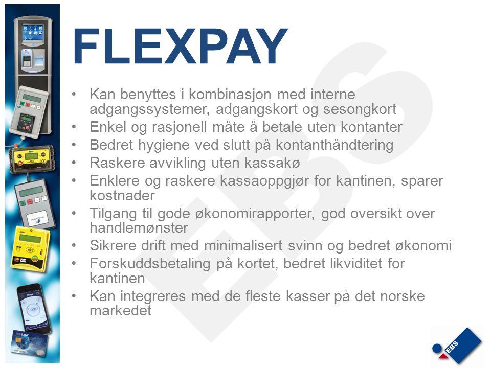 FLEXPAY Kan benyttes i kombinasjon med interne adgangssystemer, adgangskort og sesongkort Enkel og rasjonell måte å betale uten kontanter Bedret hygie