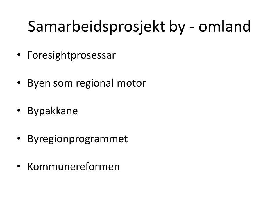 Samarbeidsprosjekt by - omland Foresightprosessar Byen som regional motor Bypakkane Byregionprogrammet Kommunereformen