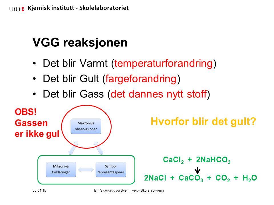 Kjemisk institutt - Skolelaboratoriet VGG reaksjonen Det blir Varmt (temperaturforandring) Det blir Gult (fargeforandring) Det blir Gass (det dannes nytt stoff) 06.01.15Brit Skaugrud og Svein Tveit - Skolelab-kjemi OBS.