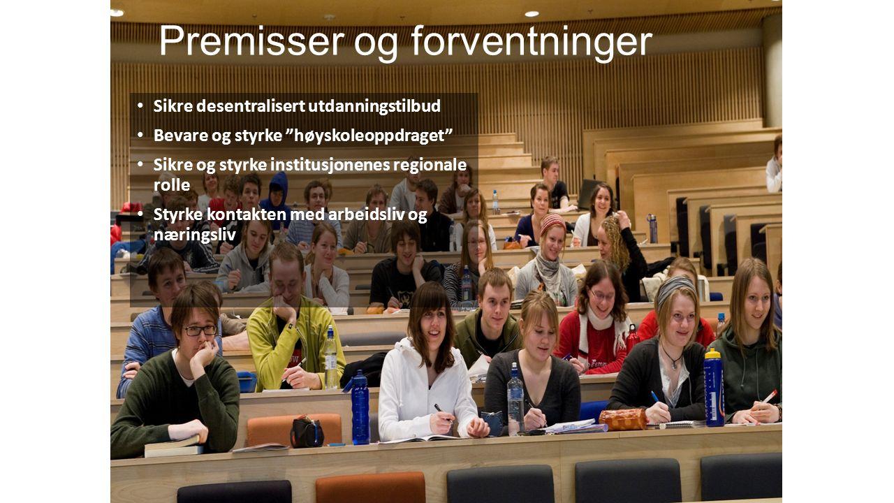Norsk mal: Tekst med kulepunkter Sikre desentralisert utdanningstilbud Bevare og styrke høyskoleoppdraget Sikre og styrke institusjonenes regionale rolle Styrke kontakten med arbeidsliv og næringsliv Premisser og forventninger