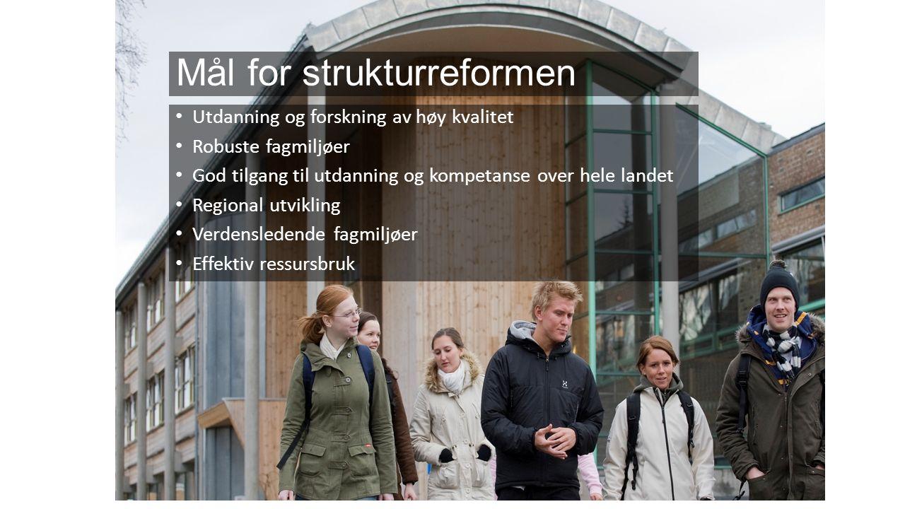 Norsk mal: Tekst med kulepunkter Utdanning og forskning av høy kvalitet Robuste fagmiljøer God tilgang til utdanning og kompetanse over hele landet Regional utvikling Verdensledende fagmiljøer Effektiv ressursbruk Mål for strukturreformen