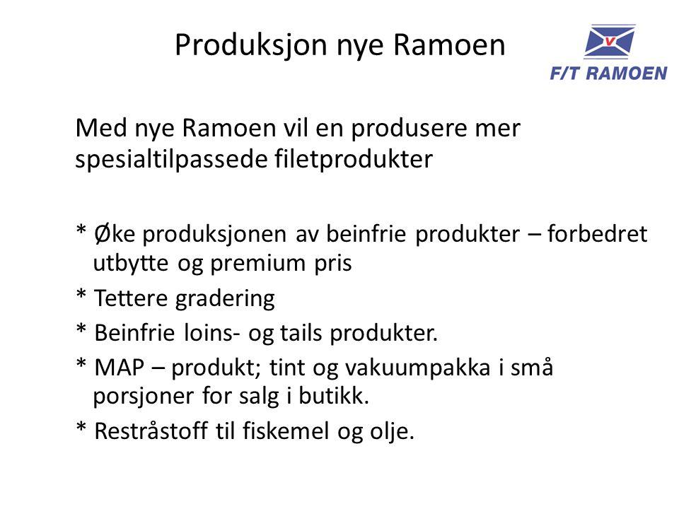 Produksjon nye Ramoen Med nye Ramoen vil en produsere mer spesialtilpassede filetprodukter * Øke produksjonen av beinfrie produkter – forbedret utbytte og premium pris * Tettere gradering * Beinfrie loins- og tails produkter.
