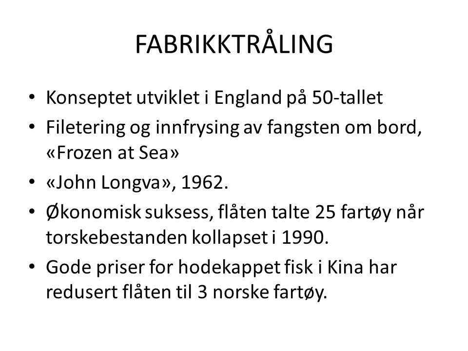 FABRIKKTRÅLING Konseptet utviklet i England på 50-tallet Filetering og innfrysing av fangsten om bord, «Frozen at Sea» «John Longva», 1962.