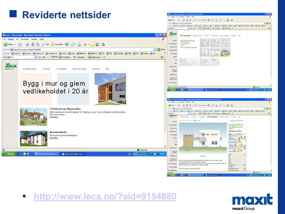 Reviderte nettsider  http://www.leca.no/?aid=9154880 http://www.leca.no/?aid=9154880