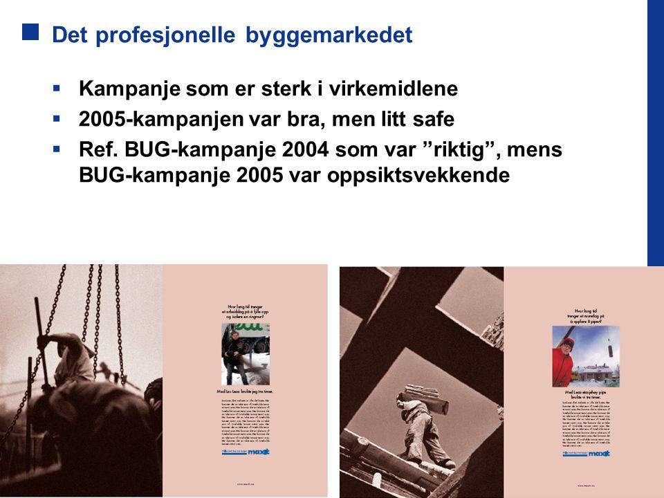 """Det profesjonelle byggemarkedet  Kampanje som er sterk i virkemidlene  2005-kampanjen var bra, men litt safe  Ref. BUG-kampanje 2004 som var """"rikti"""