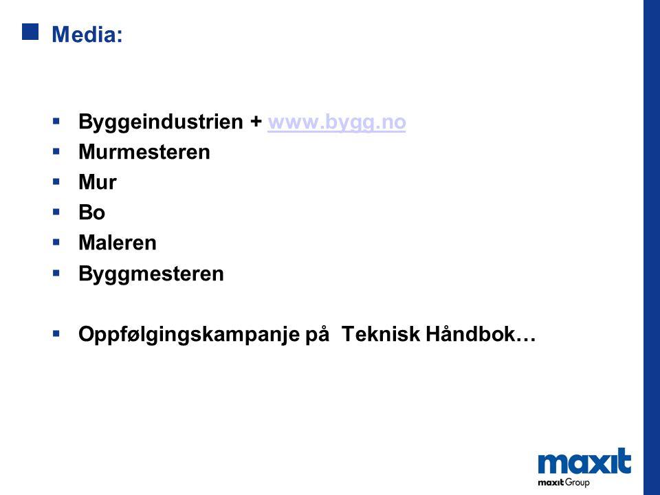 Media:  Byggeindustrien + www.bygg.nowww.bygg.no  Murmesteren  Mur  Bo  Maleren  Byggmesteren  Oppfølgingskampanje på Teknisk Håndbok…