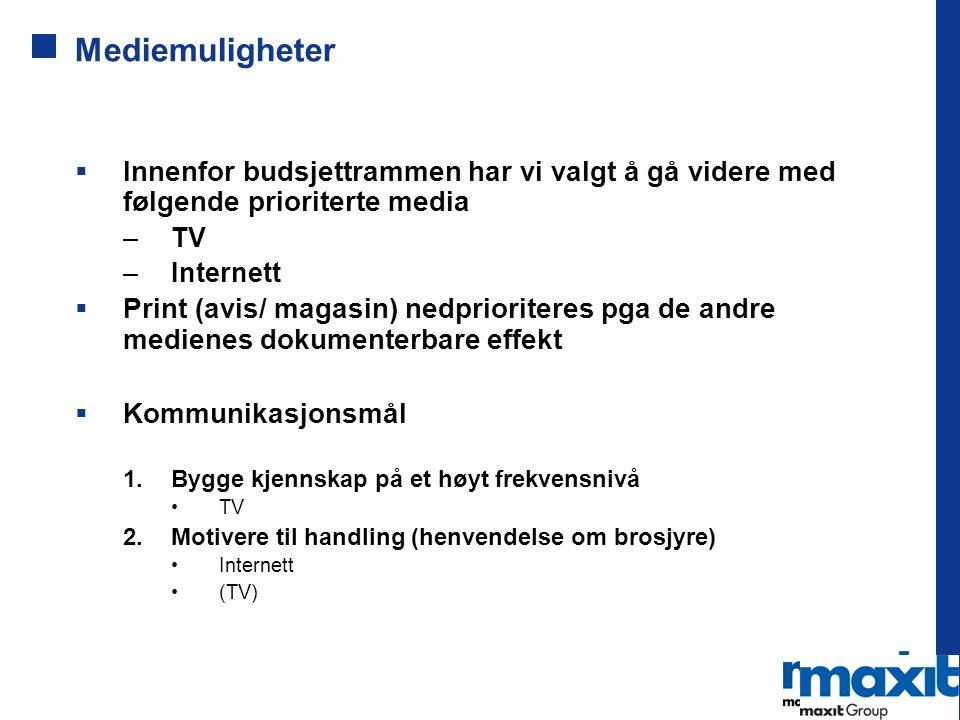 Mediemuligheter  Innenfor budsjettrammen har vi valgt å gå videre med følgende prioriterte media –TV –Internett  Print (avis/ magasin) nedprioritere