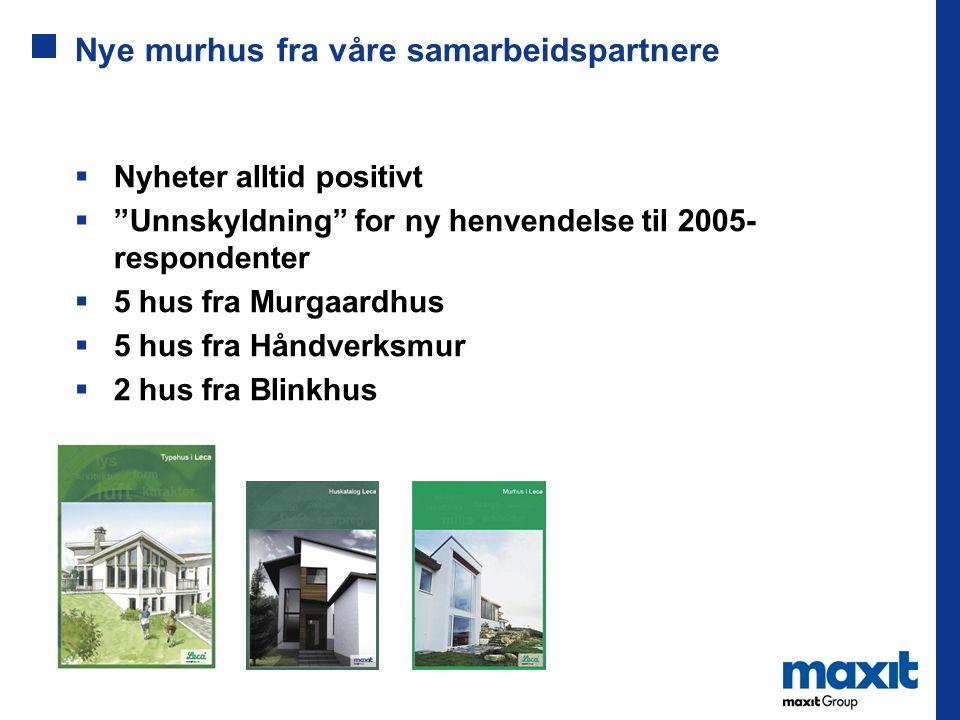 """Nye murhus fra våre samarbeidspartnere  Nyheter alltid positivt  """"Unnskyldning"""" for ny henvendelse til 2005- respondenter  5 hus fra Murgaardhus """