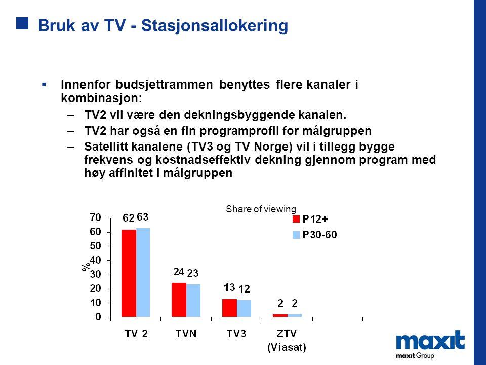 Bruk av TV - Stasjonsallokering Share of viewing  Innenfor budsjettrammen benyttes flere kanaler i kombinasjon: –TV2 vil være den dekningsbyggende ka
