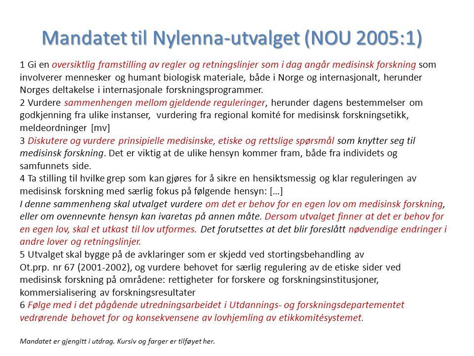 Mandatet til Nylenna-utvalget (NOU 2005:1) 1 Gi en oversiktlig framstilling av regler og retningslinjer som i dag angår medisinsk forskning som involv