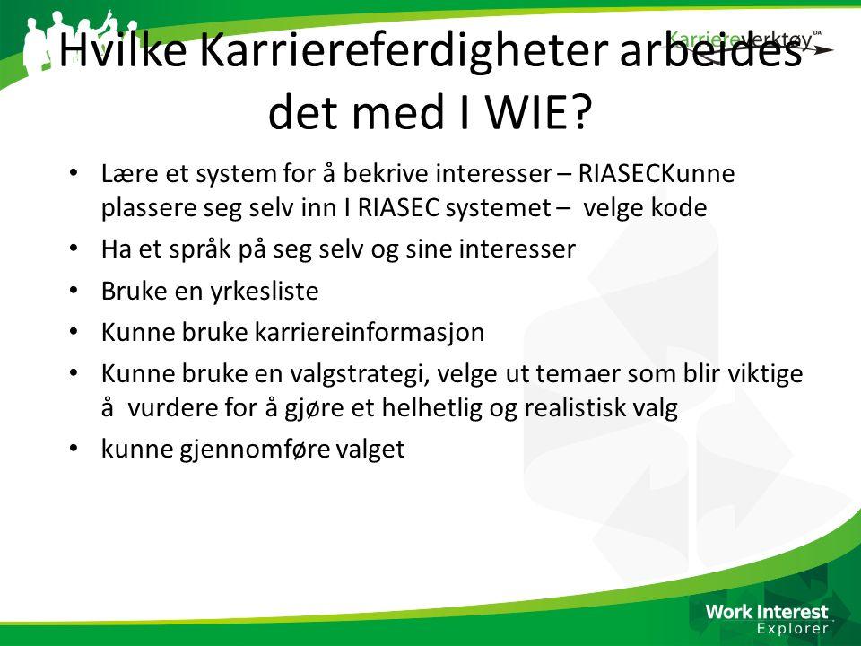 Hvilke Karriereferdigheter arbeides det med I WIE? Lære et system for å bekrive interesser – RIASECKunne plassere seg selv inn I RIASEC systemet – vel