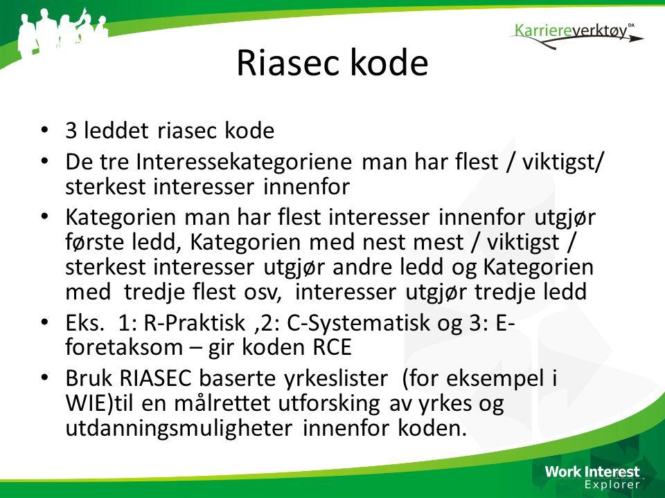 Riasec kode 3 leddet riasec kode De tre Interessekategoriene man har flest / viktigst/ sterkest interesser innenfor Kategorien man har flest interesse