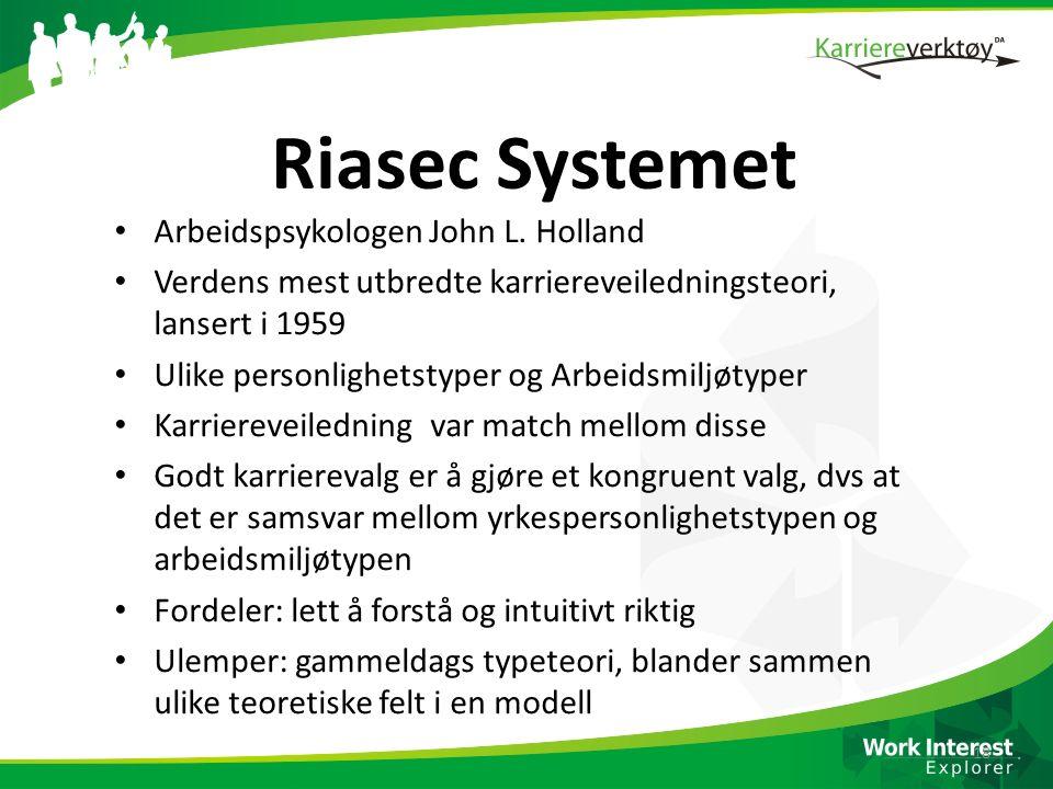 Riasec Systemet Arbeidspsykologen John L. Holland Verdens mest utbredte karriereveiledningsteori, lansert i 1959 Ulike personlighetstyper og Arbeidsmi