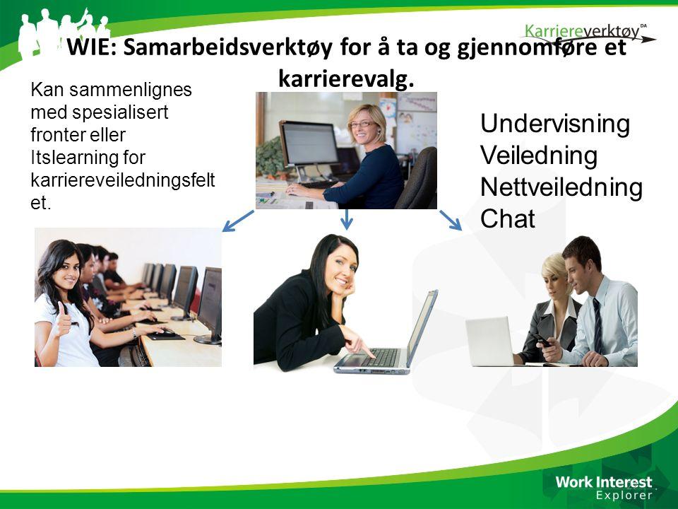WIE: Samarbeidsverktøy for å ta og gjennomføre et karrierevalg. 27 Kan sammenlignes med spesialisert fronter eller Itslearning for karriereveilednings