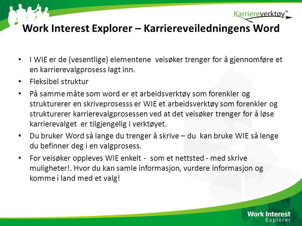 Work Interest Explorer – Karriereveiledningens Word I WIE er de (vesentlige) elementene veisøker trenger for å gjennomføre et en karrierevalgprosess l