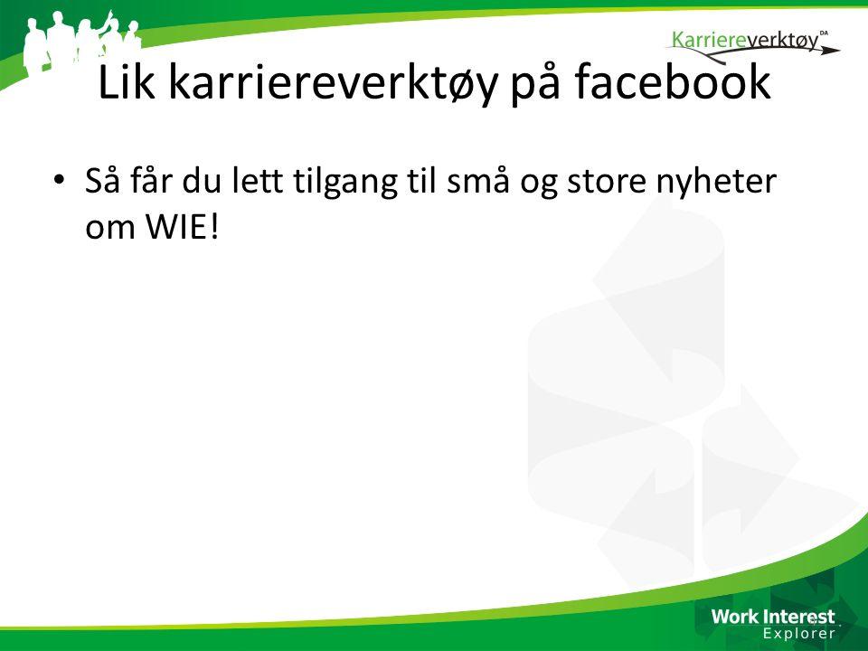 Lik karriereverktøy på facebook Så får du lett tilgang til små og store nyheter om WIE! 4